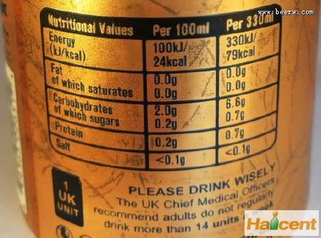 英国精酿雷竞技app官网生产商首次在拉罐上标注完整营养成分